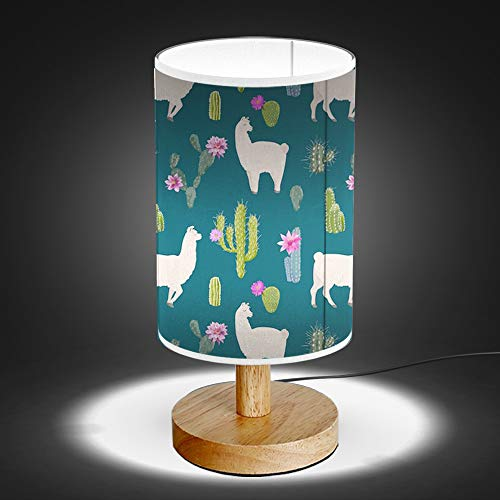 Artsylamp Llama Cactus Wood Base Bedside Table Lamp Cute Decor Online
