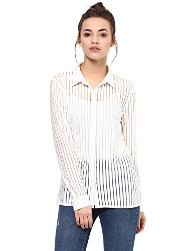 ad1d88112ffe0d FEMELLA Women's White Sheer Stripe Shirt(DS-1599706-966-WHT-L): Amazon.in:  Clothing & Accessories