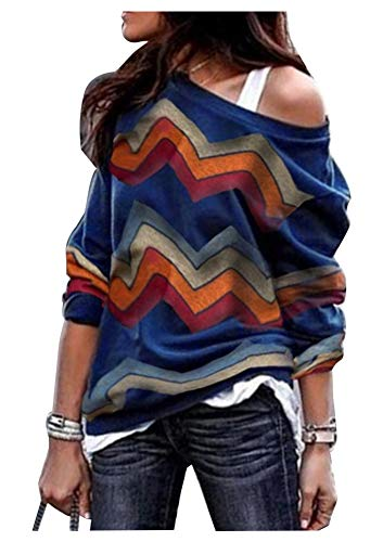 Women's Casual Colorful Striped Long Sleeve Shirt Tops Sexy One Shoulder Blouse Blue L