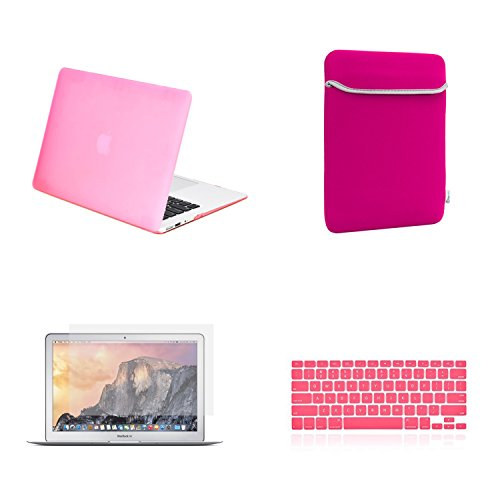 TOP CASE - 4 in 1 Rubberized Hard Case, Keyboard Cover, Screen Protector, Sleeve Bag Compatible with Apple MacBook Air 13 A1369 & A1466 - Not Compatible 2018 Version A1932 Retina Display - Pink