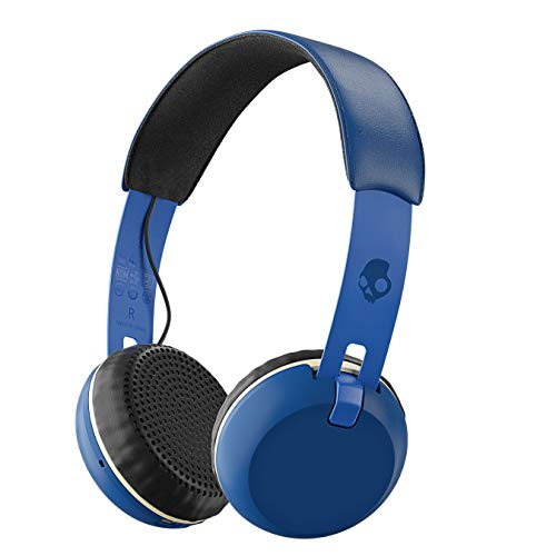 Skullcandy Grind Bluetooth Wireless On-Ear Headphones with Built-In Mic and Remote, 12-Hour Rechargeable Battery, Supreme Sound Audio, Plush Ear Pillows for Comfort, Royal Blue