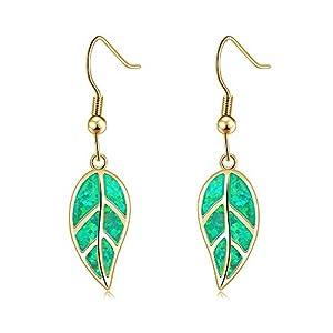 CiNily Opal Leaf Dangle Earrings-Created Fire Opal 18K Gold Plated Drop Earrings for Women Jewelry Gemstone Dangle…
