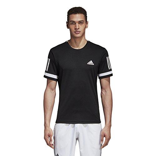 adidas Mens Tennis Club 3 Stripes Tee, Black/White, Large