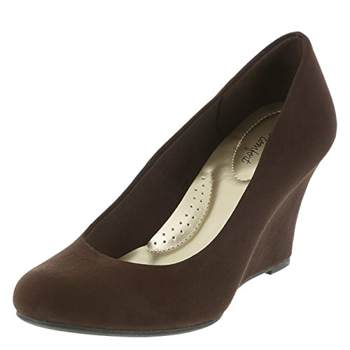 n's Brown Suede Women's Karlie Wedge 7.5 Regular (Brown Womens Pumps)