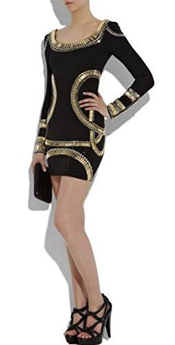 "Lumé Women's ""MELANIA"" Black Beaded Bandage Bodycon Dress (S)"