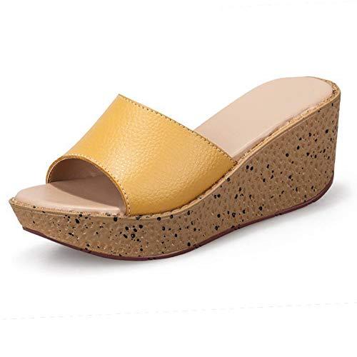 Womens Simgle Band Plain Slides Wedges Sandals Summer Platform Slippers Beach Soft PU Leather Upper Rubber Sole Yellow