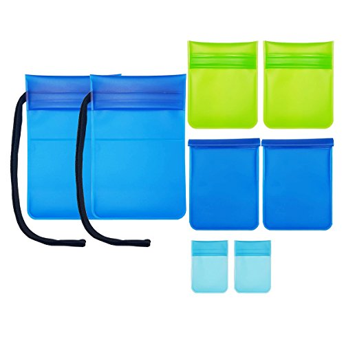 FLYGON Eco-Friendly Universal Storage Bag Set - Ultra Light Travel Pouches - TPE - Water Resistant - 8 Bags in 4 Sizes - Pouches for Jewelry, Cosmetics, Storage-Stationery, Cards and Mobile Phones by FLYGON