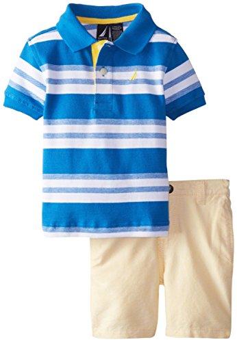 Nautica Boys 2 Piece Pique Solid Polo with Printed Short