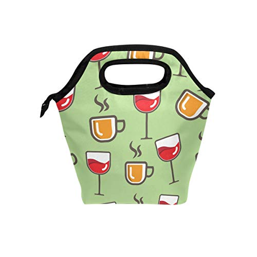 Senya Lunch Bag Insulated Lunchbox Handbag Tote Bags Reusable Cooler Containers Organizer School Outdoor For Women Men Girls Boys Kids Goblet Wine Cups ()