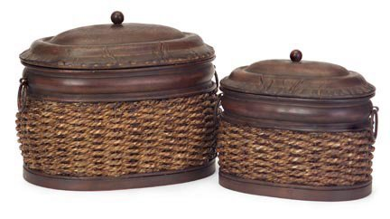 Imax Lidded Box - Set of 2 Rattan/Metal Lidded Boxes