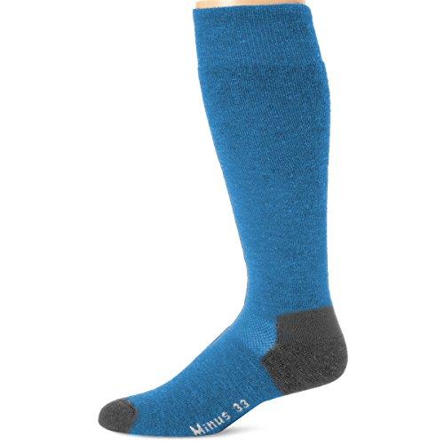 (Minus33 Merino Wool Ski and Snowboard Sock Azure Blue XL )