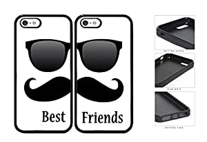 Best Friends Black Mustache Sunglasses pc Silicone pc Cell Phone Case Apple iPhone 5 5s