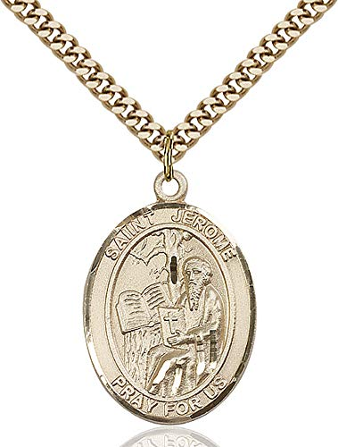 14kt Gold Filled St. Jerome Pendant, Gold Plate Heavy Curb Chain Patron Saint Libraries/Translators 1 x 3/4 ()