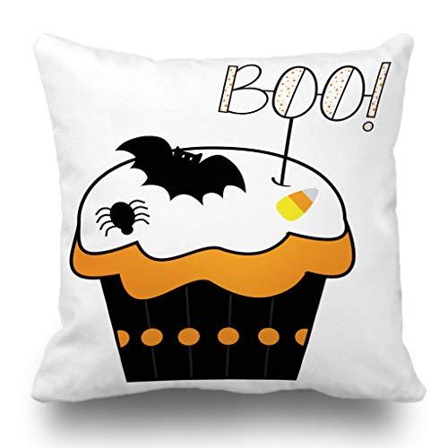 Batmerry Halloween/Thanksgiving Theme Decorative Pillow Covers 18 x 18 inch,Boo Art Autumn Bats Black Cake Candy Creepy Cup Cupcake Throw Pillows Covers Sofa Cushion Cover Pillowcase Home Gift