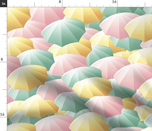 Spring Umbrellas Fabric - Spring Summer Pastel Umbrella Spring Rain Umbrella Parasol Pastel Rainbow Print on Fabric by The Yard - Sport Lycra for Swimwear Performance Leggings Apparel Fashion