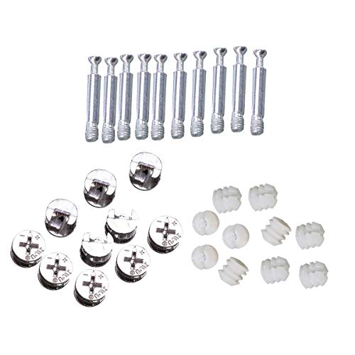 (Yardwe 10 Sets Furniture Connectors Cam Fitting with Dowels Pre-Inserted Nuts Furniture Screw-in Nut)