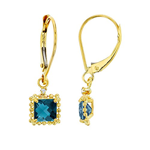 14K Yellow Gold 1.25mm Round Created White Sapphire & 5mm Square London Blue Topaz Bead Frame Drop Leverback Earring (Carats Ruby Sapphire Beads)