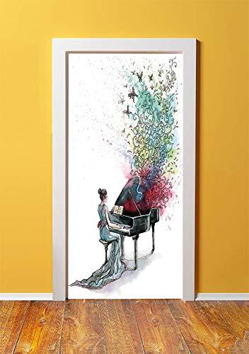 (SHENGLIPINK Music Decor 3D Door Sticker Wall Decals Mural Wallpaper,Grand Piano Music Musician Butterflies Ornamental Pianist Swirls Vintage,DIY Art Home Decor Poster Decoration 30.3x78.10427,)