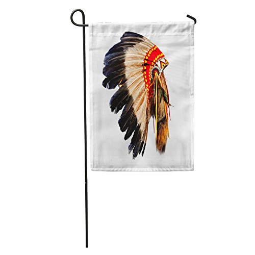 Semtomn Garden Flag Head Native American Indian Chief Headdress Mascot Tribal Feather Costume Home Yard House Decor Barnner Outdoor Stand 12x18 Inches Flag