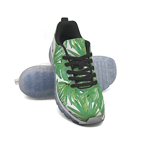 Faaerd Green Tropical Leaves Mens Moda Leggero Mesh Cuscino Daria Sneakers Sneakers Da Basket