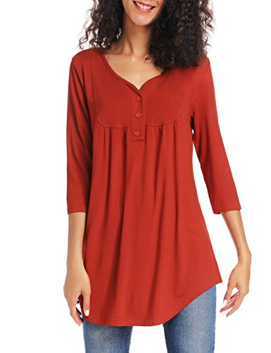 Acloth Ladies Blouses and Tops 3/4 Sleeve Summer Henley Shirts for Work Flattering Tunics(Red,XL)