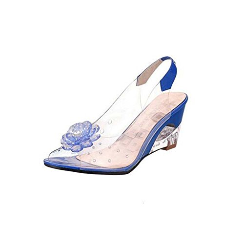 ANDAY Fashion Bohemmian Summer Clear Jelly Peep-Toe Flower Wedges Sandals Blue UFqJtCwe5