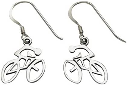 Sterling Silver Bike and Rider Wire Earrings