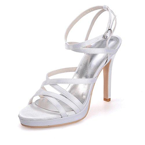Weiß Damen mit Brautschuhe Sandalen Spitze Clearbridal offener Sandalen für 03 und ZXF5915 Absatzschuhe 7RdEdqw