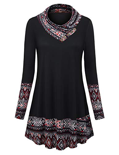 Gaharu Women Tunics to wear with Leggings Ladies Office Color Block Patchwork Top Cowl Neck Long Sleeve Casaul Flower Printed Blouses (Black Red,XL)