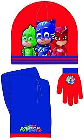 PJMASKS - Set bufanda - gorro - guantes rojo-azul: Amazon.es ...