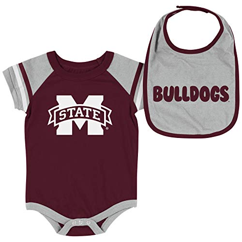 Colosseum NCAA Baby Short Sleeve Bodysuit and Bib 2-Pack-Newborn and Infant Sizes-Mississippi State Bulldogs-0-3 Months