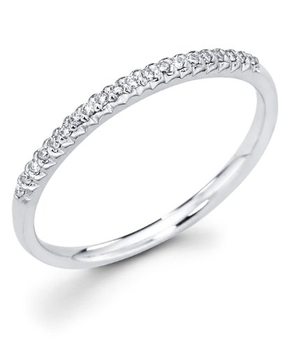 14k White Gold Micro Pave Set 20 Round Diamond Wedding Anniversary 1.9mm Ring Band (1/10 cttw, G-H Color, I1 Clarity)