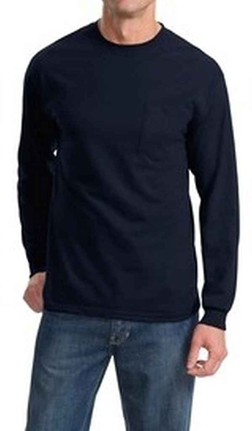 Port & Company - 100% Cotton Long Sleeve T-Shirt with Pocket. PC61LSP