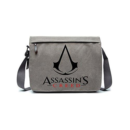 Anime Style Cosplay Shoulder bags Khaki Grey Cotton Canvas Cross body handbags ipad Book School bags (ASSASSIN'S CREED)]()