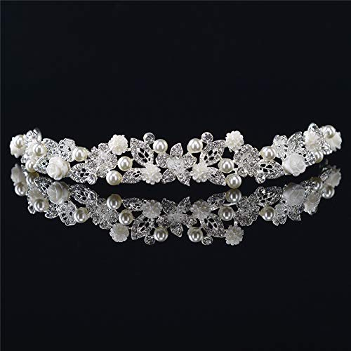SWEETV Wedding Headpieces for Bride - White Pearl Bridal Tiara Headband, Crystal Hair Accessories for Women ()