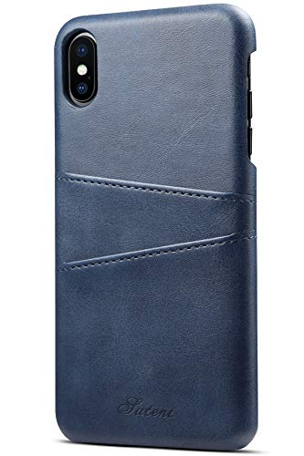 iPhone XS Max Wallet Case SAVYOU Slim Vintage Synthetic Leather Card Case with 2 Card/ID Holder Slots Simple Professional Executive Snap On Cover Blue