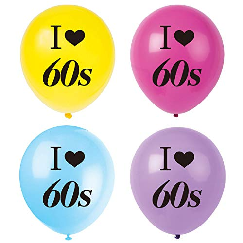 MAGJUCHE I Love 60s Balloons, 16pcs 1960s happie Themed Party Decorations, Supplies