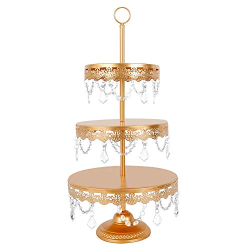 Lucky Monet 3-Tier Cupcake Stand Crystals Dessert Tower Cake Holder Wedding Plates Set Metal Party Display Décor with Crystals Beads (Gold)