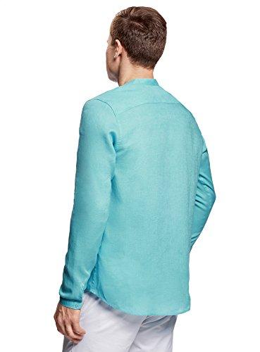 Lin Chemise Ultra Col Sans Turquoise Oodji En Homme 7300n fZE6wZqI