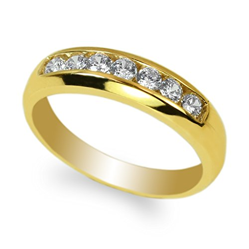 JamesJenny Men's 10K Yellow Gold Round CZ Channel Wedding Ring Size 12