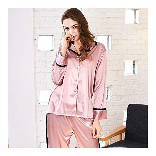 Pajama Suit Pant HAOLIEQUAN Long New Home Di Lounge Pezzi Sleep Femme Due Set Full Pajama Fucsia Sleeve Pajama Set Seta Marca OOxrqgH