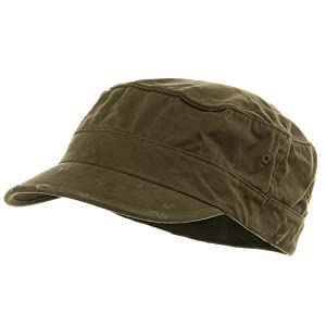 Washed Cotton Fitted Army Cap-Dark Olive W32S33F