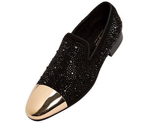 Asher Green Mens Tonal Crystal Covered Suede Slip-On, Gold Metal Cap-Toe Dress Shoe