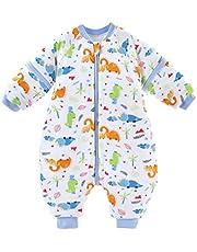 Baby sovsäck vinter pojkar flickor sovsäck med ben 3,5 Tog bomull avtagbar ärm tvåvägs dragkedja varm sparkdräkt pyjamas spädbarn present barn 3–5 år, vit
