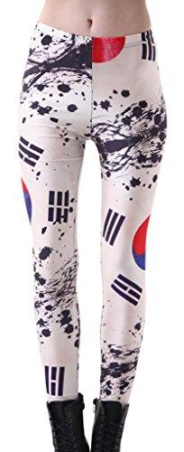 GSHappyGo Women's High Waist Nation Flag Printed Ankle Elastic Tights Legging Korea US 20-22