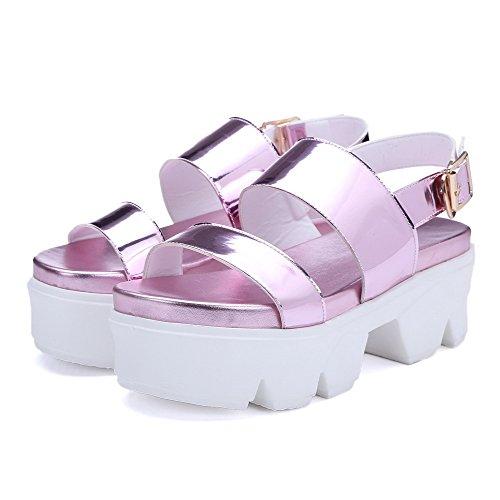 Sandals High AgooLar Open Heels Pu Toe Pink Women's Solid Buckle Wwwx8qF41