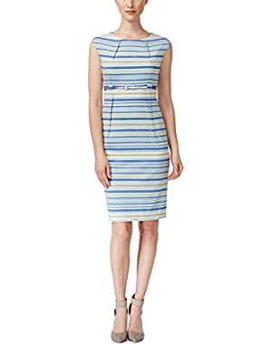 Calvin Klein Womens Striped Sleeveless Wear to Work Dress