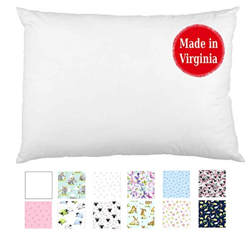 Toddler Pillow in White & Cute Designs (13x18) Washable - No Pillowcase Needed - Perfect for Toddlers, School, Travel, Napping & Reading Support - Hypoallergenic - by A Little Pillow Company (White)