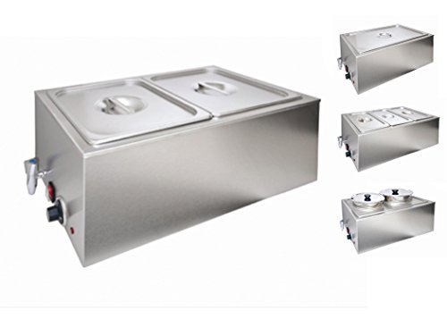 Sybo Stainless Steel Bain Marie Electric Food Warmer and Buffet Server Steam Table, Double Section with 2 Well, Pot, Pan for Restaurant (Double Section with Tap) by Sybo International