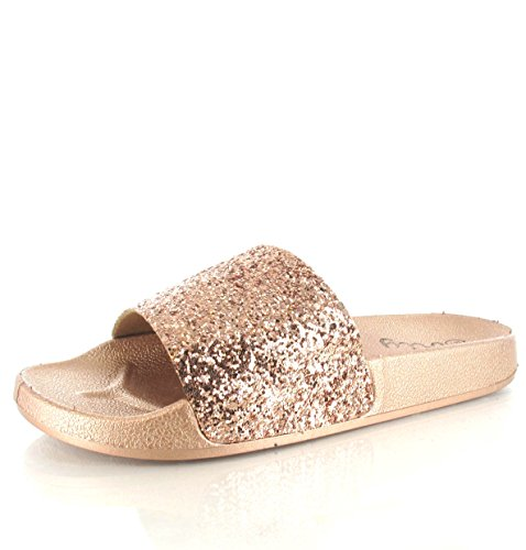 Olly New Womens Ladies Glitter Comfy Sliders Flat Shoes Slippers Summer Sandals Sizes 5-9 Rose al5ytm